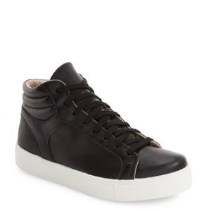 Topshop Cinger High Top Sneaker Black Faux Leather